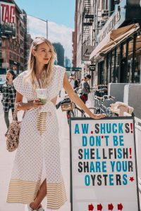Leonie Hanne matcha stop in NY wearing Silvia Tcherassi