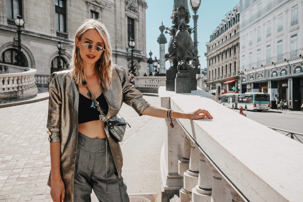 Metallic blazer in Paris