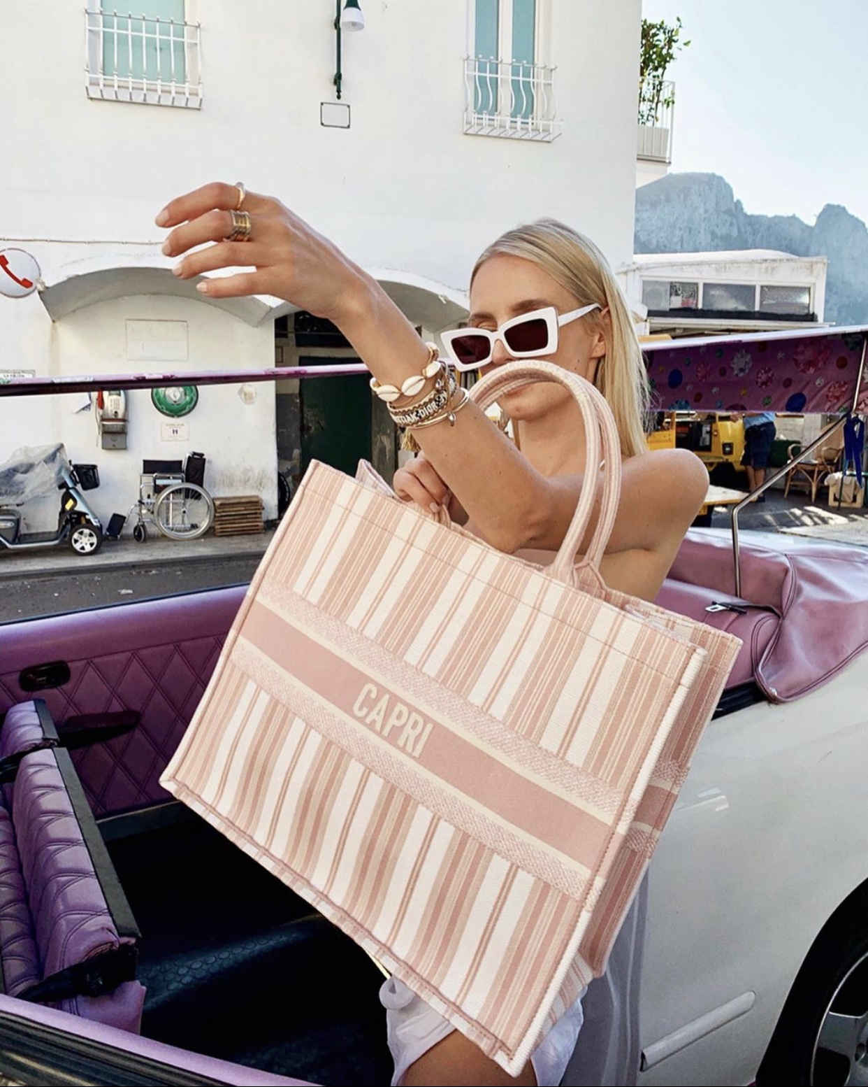 Dior Tote and Vintage Cars in Capri