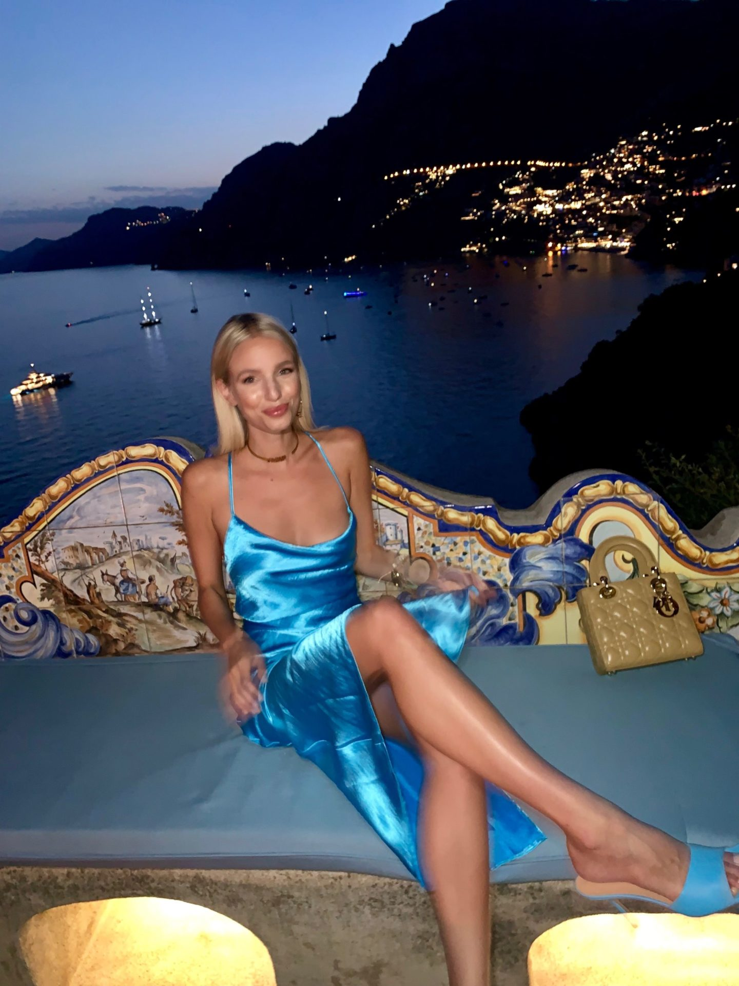 Leonie Hanne blue satin dress in Positano