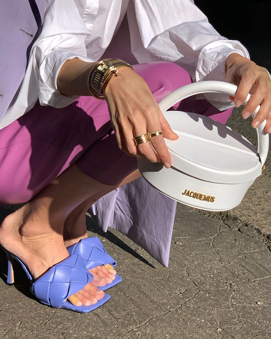 White La Boite Bag and Purple Padded Sandals